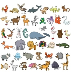 Color doodle animals sketch vector