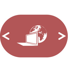 Computer monitor and earth globe icon vector