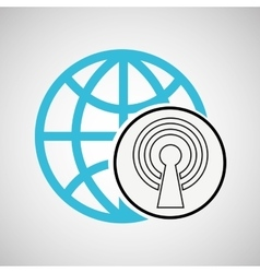 connection concetp globe tower wifi vector image