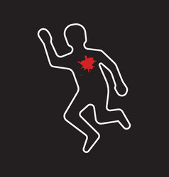 Crime scene dead body silhouette icon vector