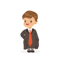 Cute boy wearing dult oversized suit kid vector