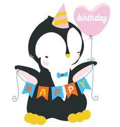 cute cartoon penguin with pink baloon antarctic vector image