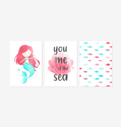 Cute posters with sweet mermaid pattern fish vector