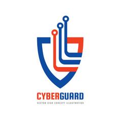 cyber guard - logo template concept vector image