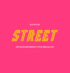 Cyrillic italic striped sans serif font vector
