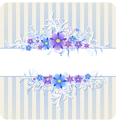 Decorative background with blue flowers vector image