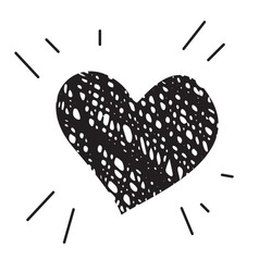 doodle heart icon isolated on white background vector image
