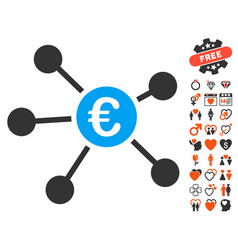 Euro links icon with lovely bonus vector