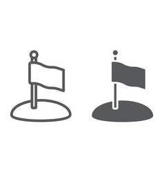 Flag line and glyph icon game and pointer vector