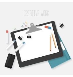 Flat design mockup per creative workspace vector