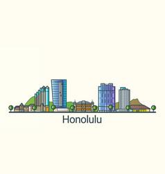 Flat line honolulu banner vector