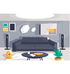 flat modern urban room interior with home theater vector image