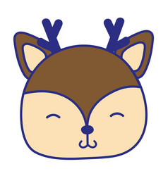 full color shy deer head wild animal vector image