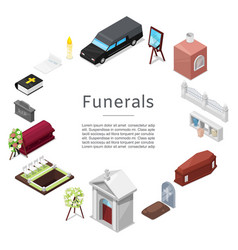 funeral icon set in isometric style for vector image