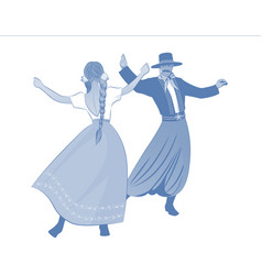Gaucho with mustache and hat and woman with vector