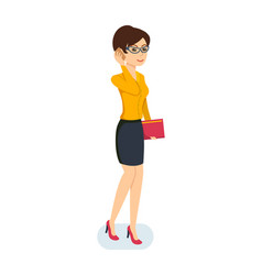 girl in dress talking on the phone about the job vector image