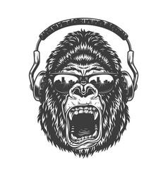 Gorilla with headphones vector