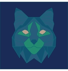 Green and blue low poly bobcat vector