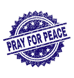 Grunge textured pray for peace stamp seal vector
