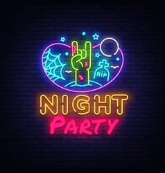 halloween party neon sign design template night vector image