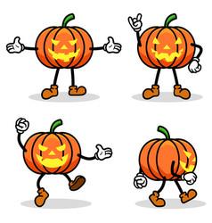 halloween pumpkin cartoon collection set vector image