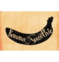 Hand lettering poster sweet fruity banana smoothie vector