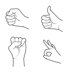 Hands signals over white background vector