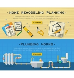 Home Repair 2 Flat Banners Set vector