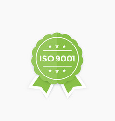iso 9001 badge label vector image