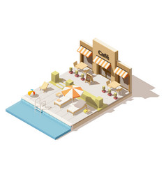 isometric low poly swimming pool and cafe vector image
