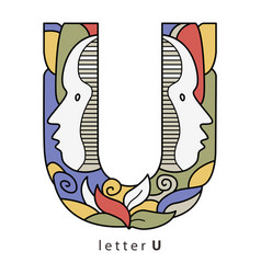 Letter u with masks vector