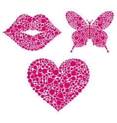 Lipsheartbutterfly on white background vector