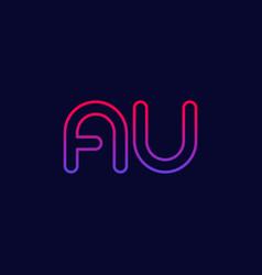 Logo au letters initials line design vector