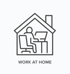 man working on computer from home line icon vector image