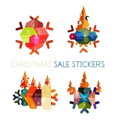 Modern paper Christmas stickers vector image