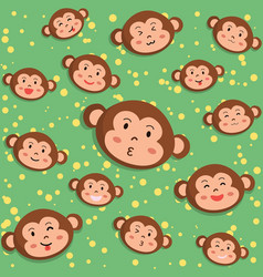 Monkey head seamless pattern cartoon vector