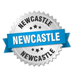 Newcastle round silver badge with blue ribbon vector