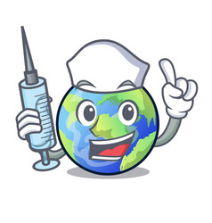 Nurse earth above the sky the mascot vector