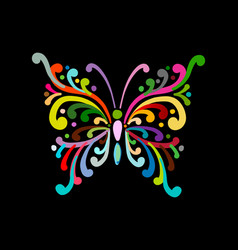 ornate colorful butterfly for your design vector image