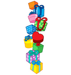 Pile of christmas gifts vector