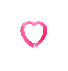 Pink heart love charity logo vector