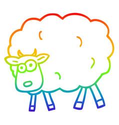 Rainbow gradient line drawing cartoon sheep vector