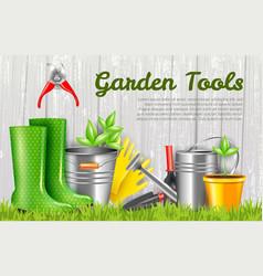 Realistic garden tools horizontal vector