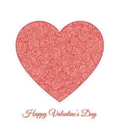 Red floral heart happy valentines day vector