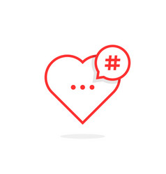 Red heart like hashtag logo vector