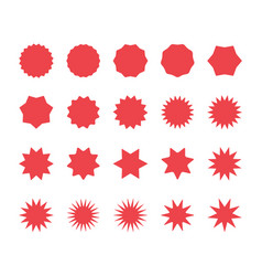 red starburst badges set sunburst price labels vector image