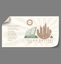renewable energy from solar battery templates vector image