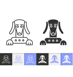 robot dog simple black line icon vector image