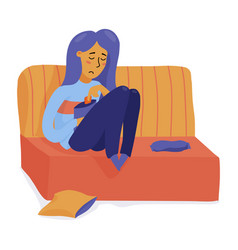 sad young woman girl overeating in depression vector image