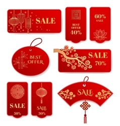 Sale banners and badges for Chinese new year vector image